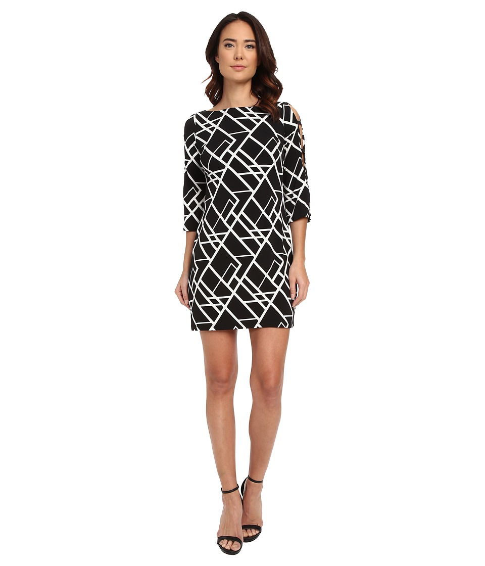 Jessica Simpson - 3/4 Ity Printed Dress with Cut Out Details (Black/White) Women's Dress