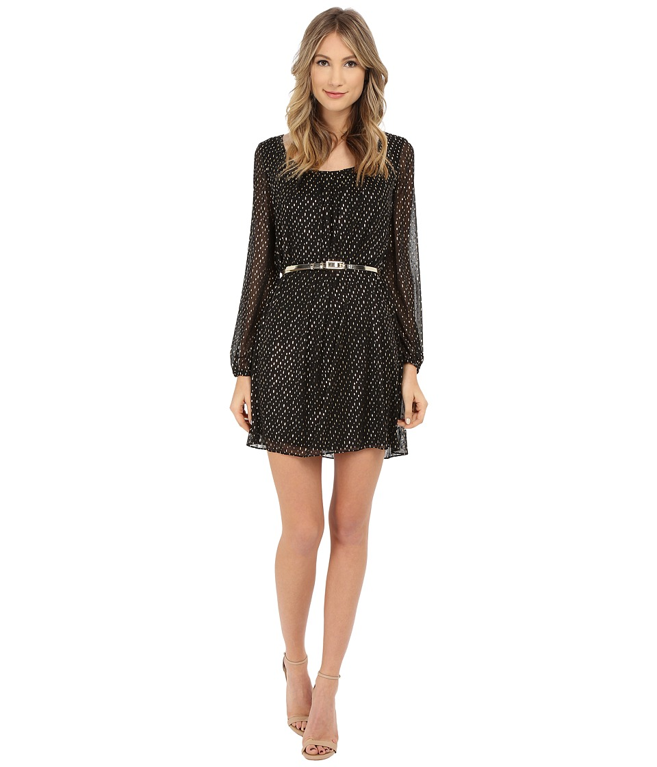 Jessica Simpson - Foiled Mesh Long Sleeve Dress with Gold Belt (Black/Gold) Women's Dress