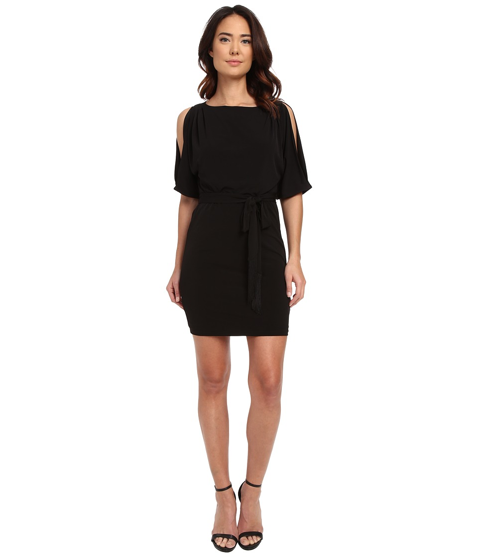 Jessica Simpson - Boat Neck Ity Dress with Self Sash (Black) Women's Dress