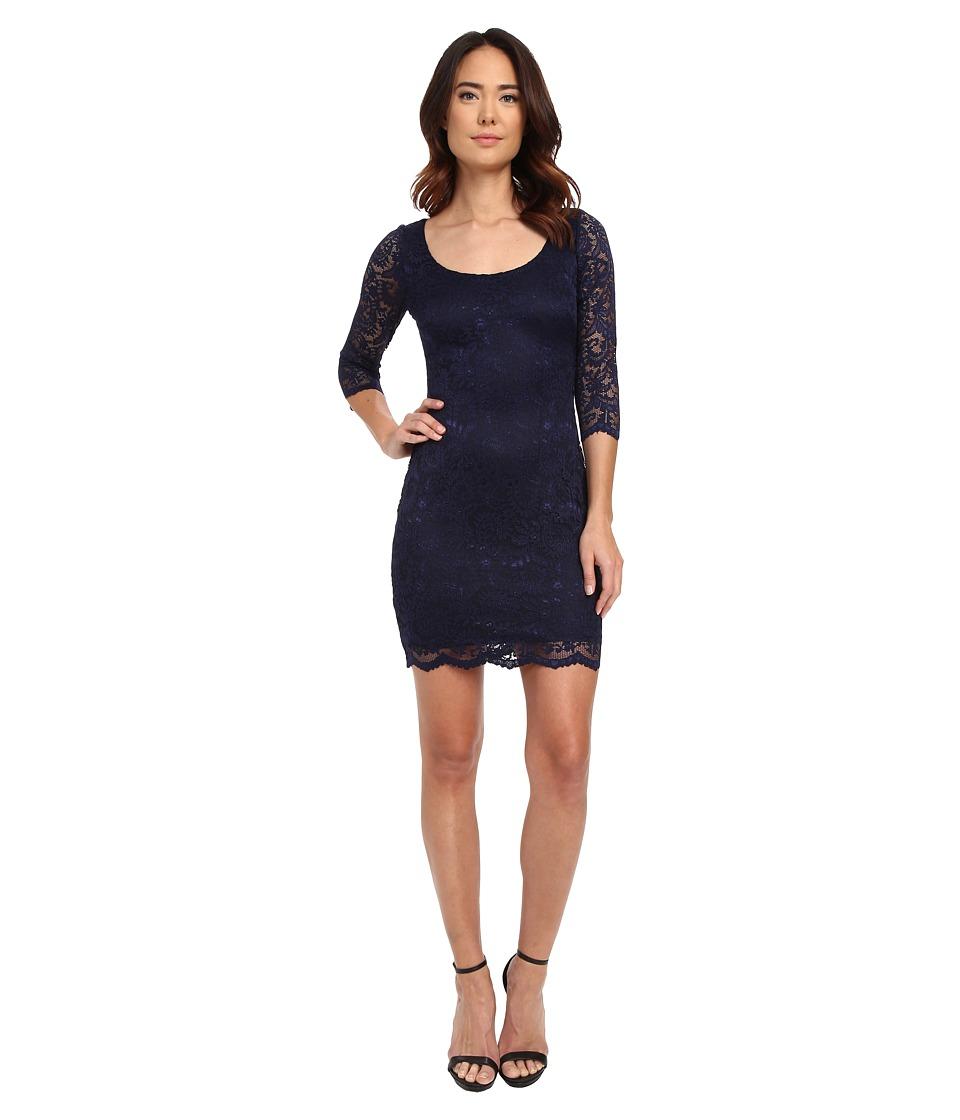 Jessica Simpson 3/4 Sleeve Metallic Lace Dress (Navy) Women