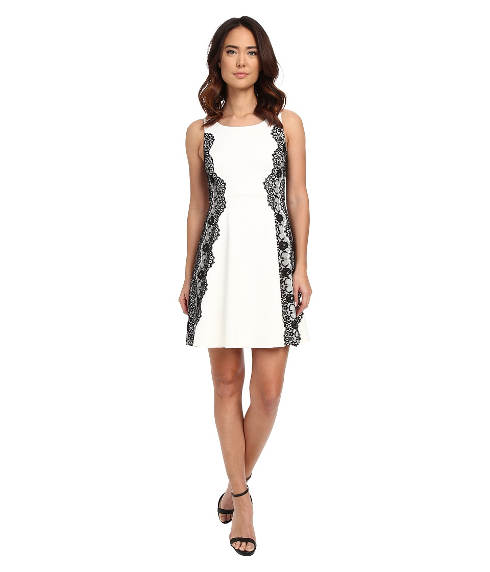 Jessica Simpson Scuba Fit and Flare Dress with Lace (Ivory/Black) Women