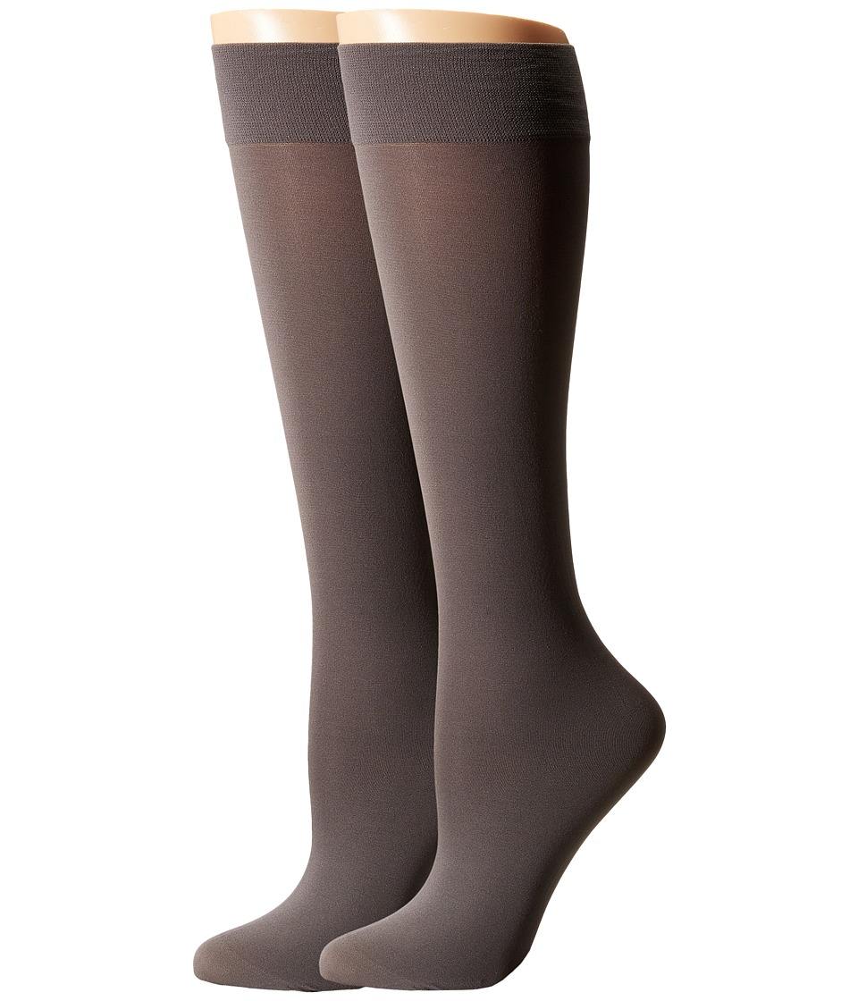 Cole Haan - 2-Pack Solid Knee Highs (Storm Cloud) Women's Knee High Socks Shoes