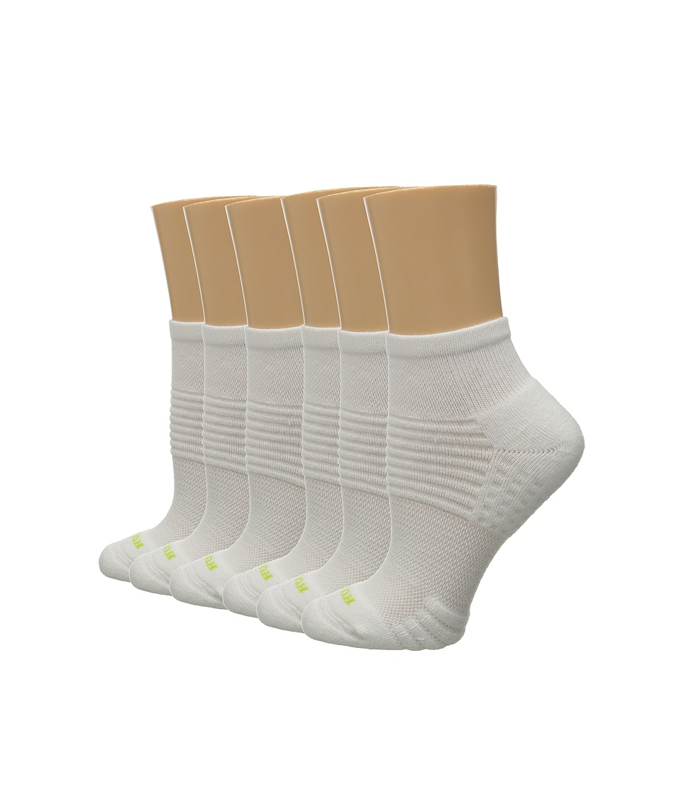 HUE - Air Cushion 6-Pair Pack Quarter Top 3D Sole (White/White) Women's Quarter Length Socks Shoes