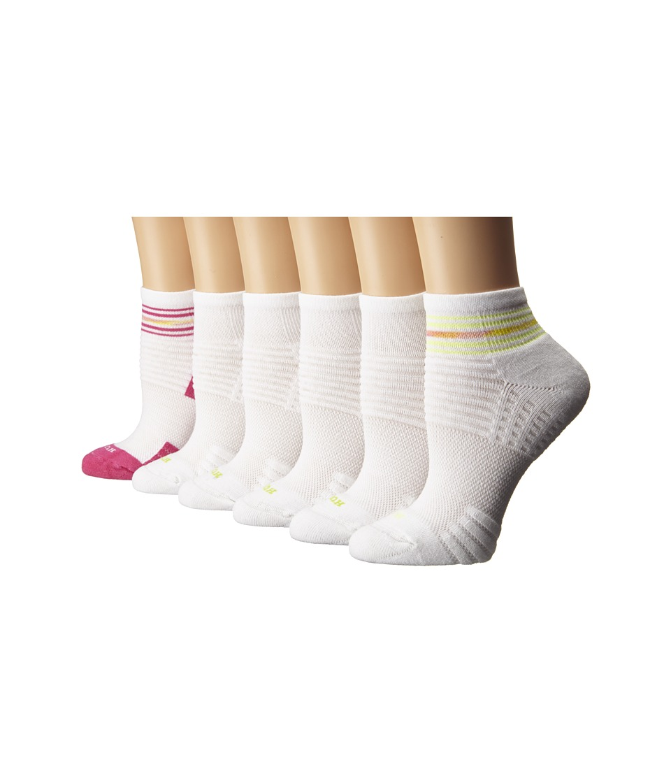 HUE - Air Cushion 6-Pair Pack Quarter Top 3D Sole (Paradise Pink/White) Women's Quarter Length Socks Shoes