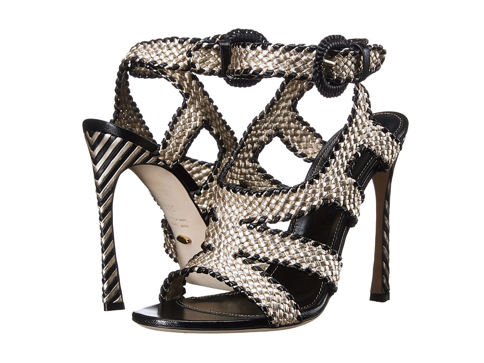 Sergio Rossi - Antibes (Platinum/Black Braided Leather) High Heels