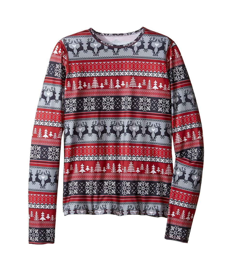 Hot Chillys Kids - MTF Print Crew Neck (Little Kids/Big Kids) (Holiday Fever) Kid's Clothing
