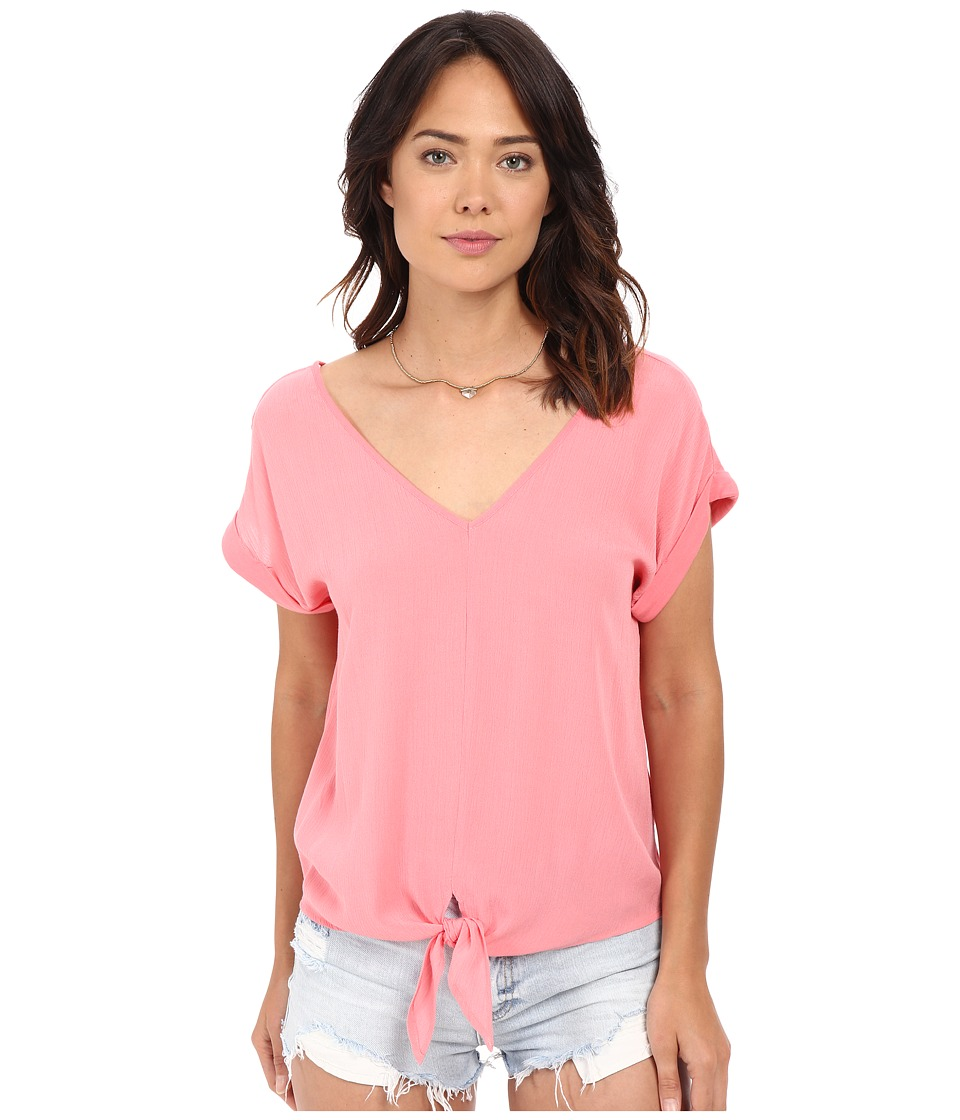 Splendid - Rayon Crinkle Gauze Tie Front Shirt (Sunkissed Pink) Women's Blouse