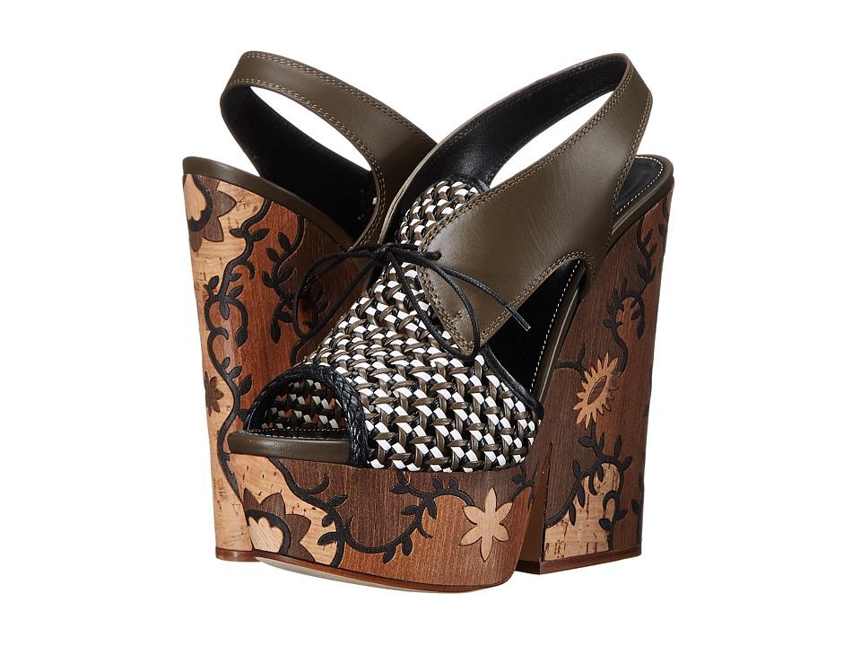 Sergio Rossi Atlantiques (Peat Green Leather/Wood) High Heels