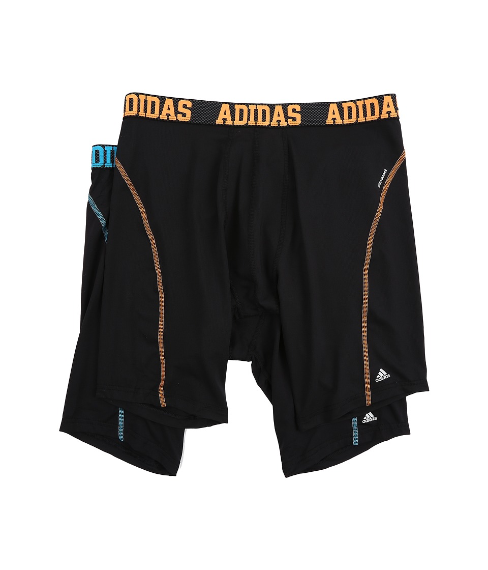 adidas - Sport Performance Climacool 9-Inch 2-Pack Midway (Black/Solar Blue/Black/Solar Orange) Men's Underwear