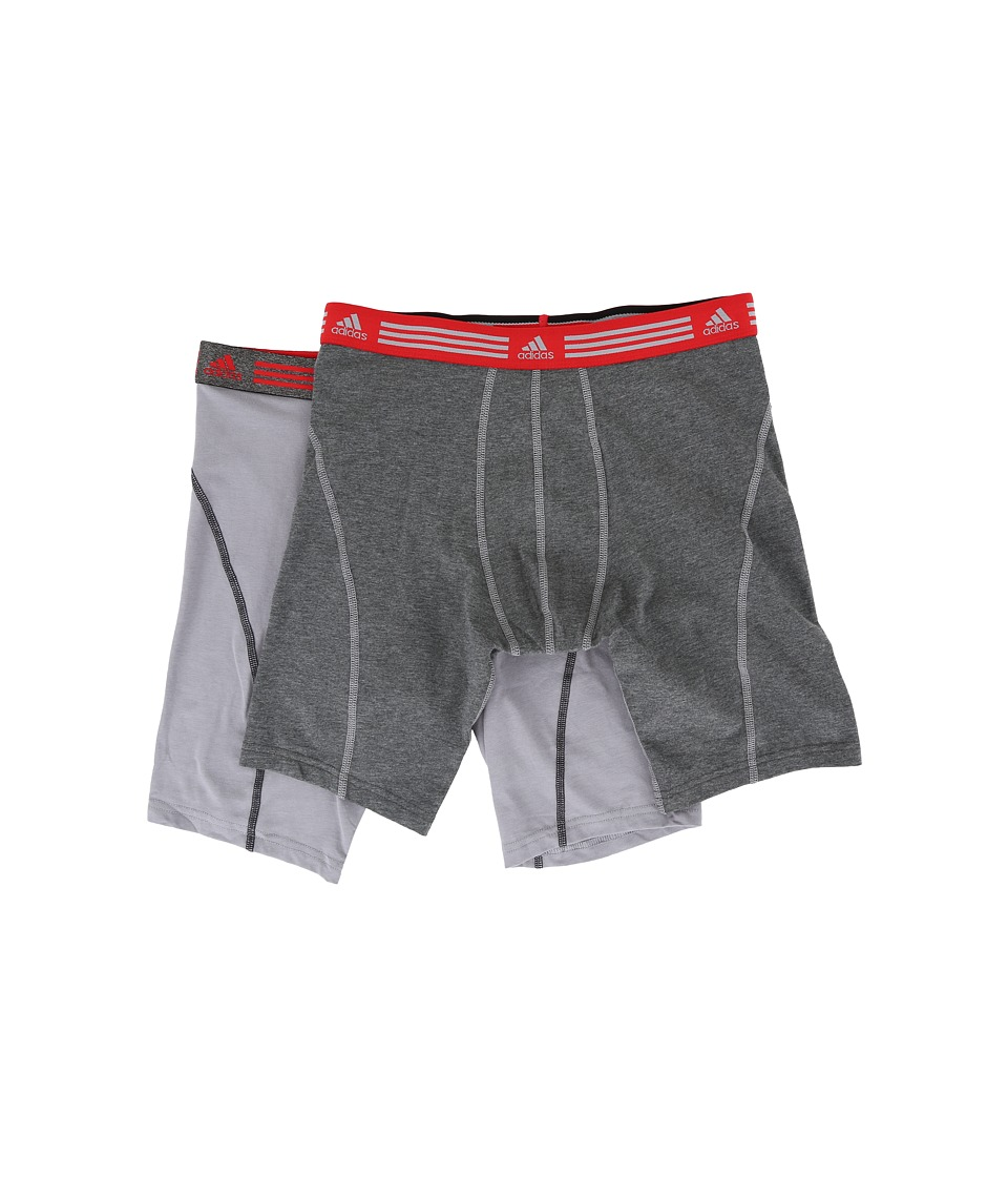 adidas - Athletic Stretch 2-Pack Midway (Marl Heather Black/Ray Red/Grey/Black/Ray Red) Men's Underwear