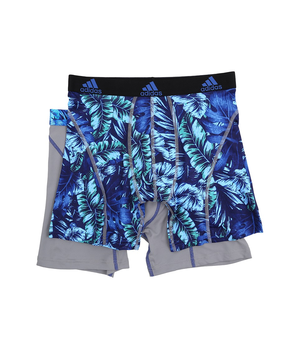adidas - Sport Performance Climalite Graphic 2-Pack Boxer Brief (Jungle Bold Blue/Grey/Grey Bold Blue) Men's Underwear