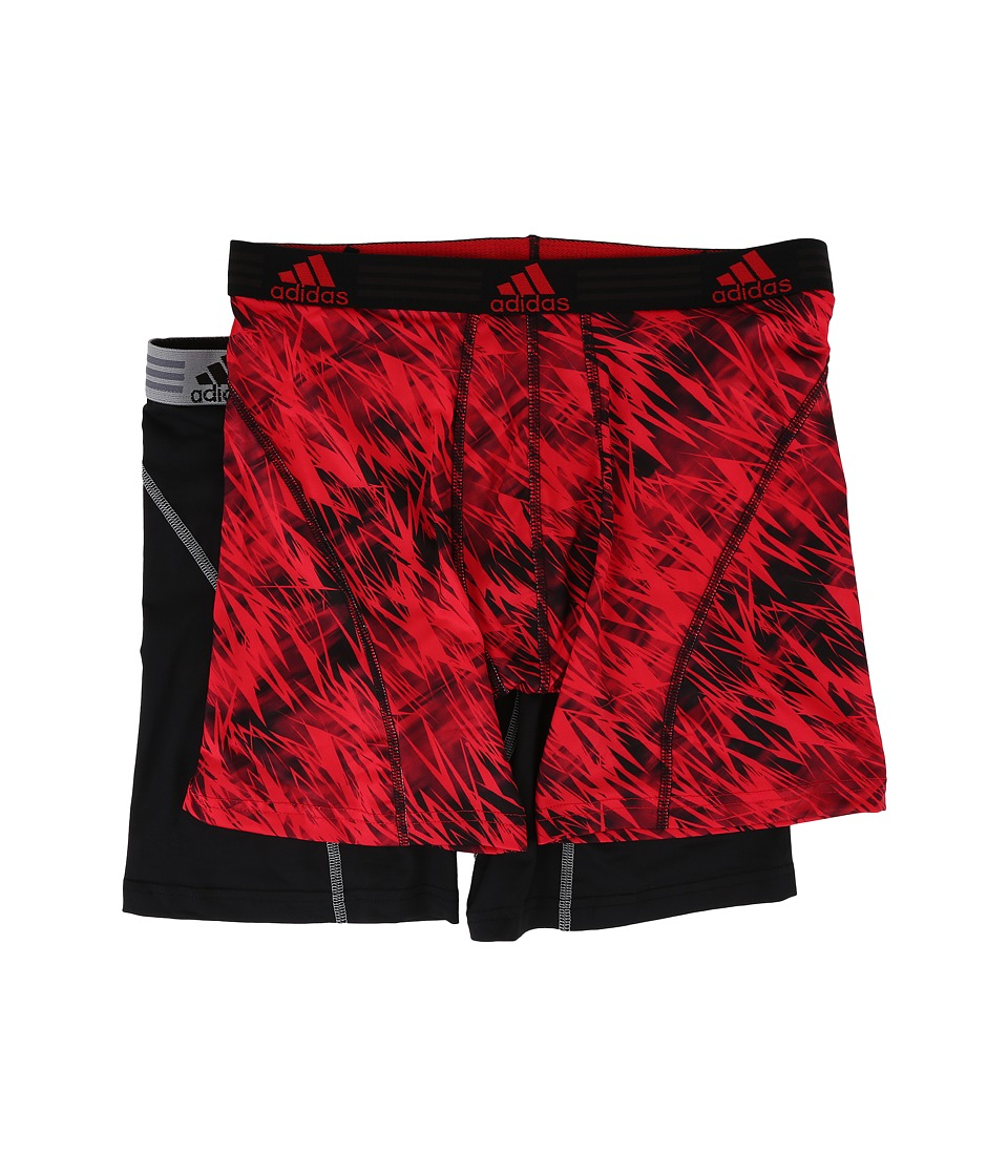 adidas - Sport Performance Climalite Graphic 2-Pack Boxer Brief (Real Red Draven/Black/Grey) Men's Underwear