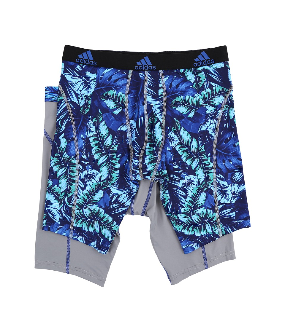 adidas - Sport Performance Climalite Graphic 2-Pack Midway (Jungle Bold Blue/Grey/Grey Bold Blue) Men's Underwear