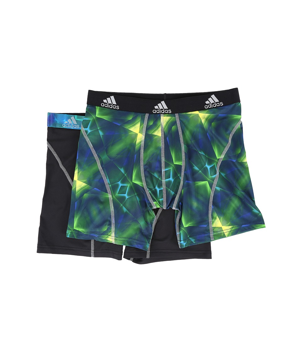 adidas - Sport Performance Climalite Graphic 2-Pack Boxer Brief (Grammer Solar Green/Grey/Black/Grey) Men's Underwear