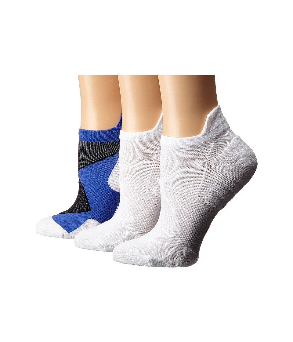 HUE - Back Tab No Show 3-Pack (Mediterranean/White Solid/White Solid) Women's No Show Socks Shoes