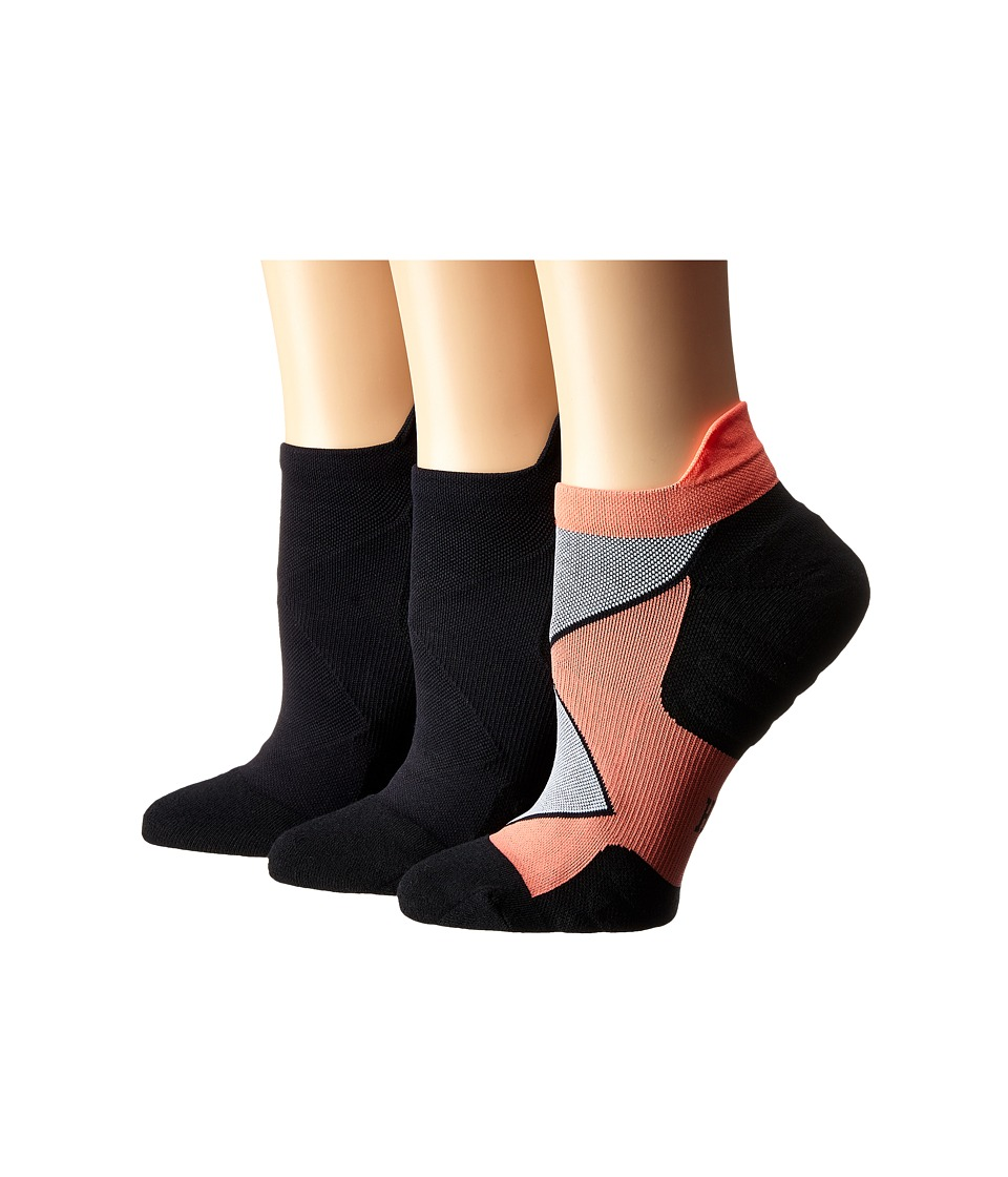 HUE - Back Tab No Show 3-Pack (Neon Red/Black Solid/Black Solid) Women's No Show Socks Shoes