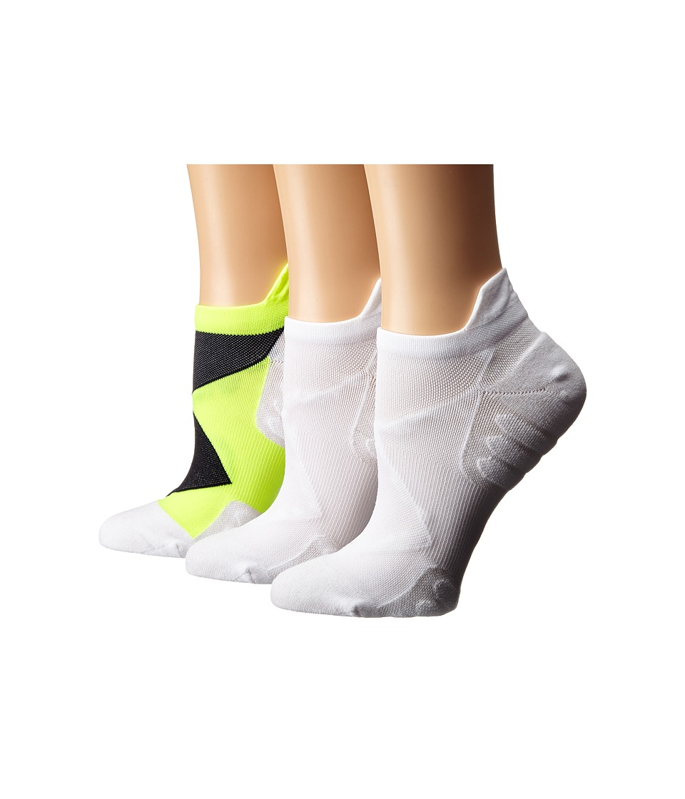 HUE - Back Tab No Show 3-Pack (Neon Yellow/White Solid/White Solid) Women's No Show Socks Shoes