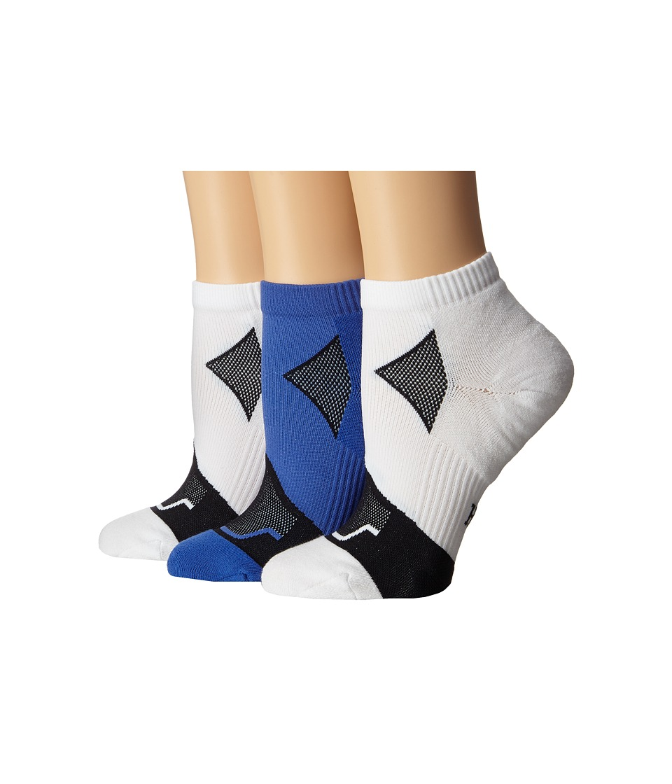 HUE - Quarter Top 3-Pack (Mediterranean/White Solid/White Solid) Women's Quarter Length Socks Shoes