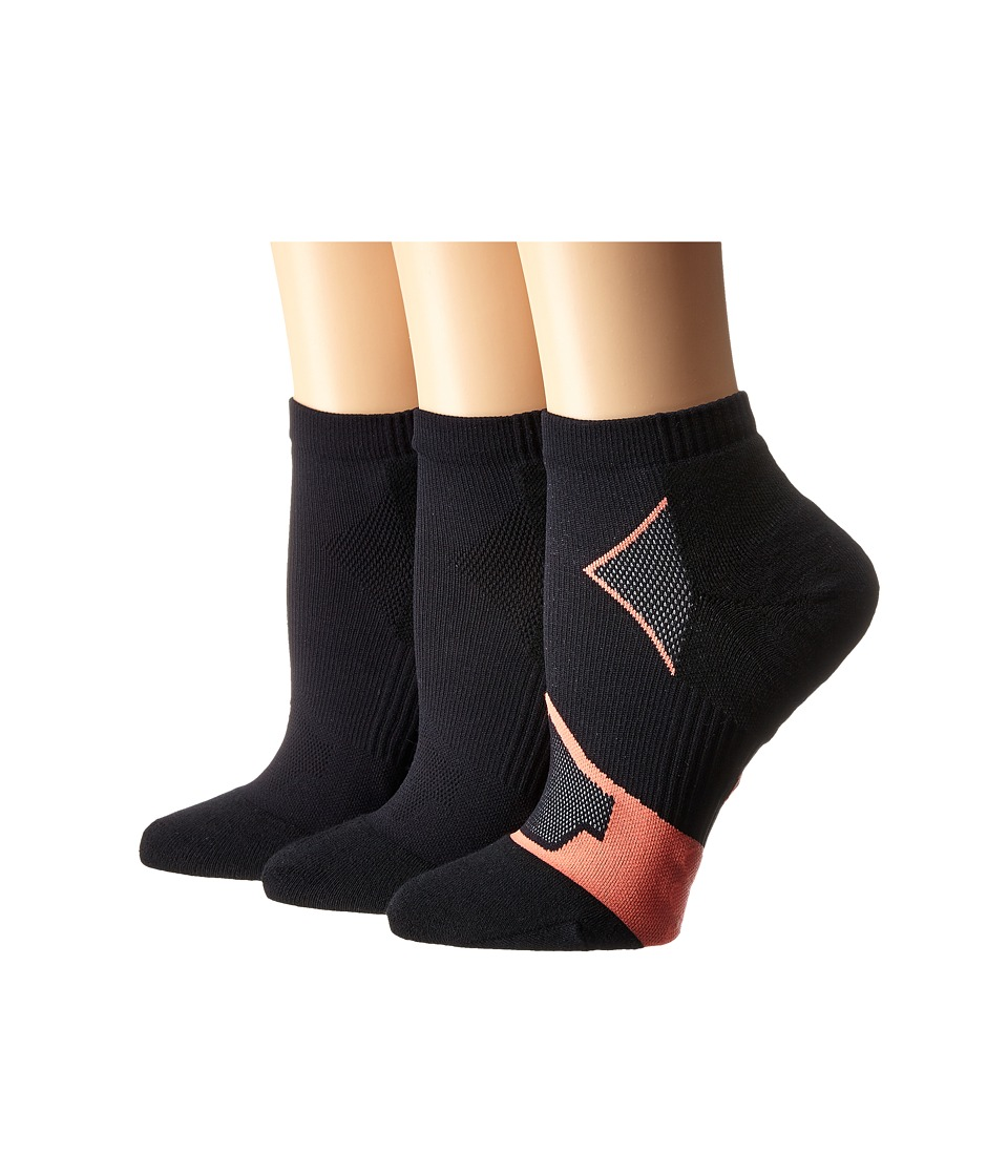 HUE - Quarter Top 3-Pack (Neon Red/Black Solid/Black Solid) Women's Quarter Length Socks Shoes