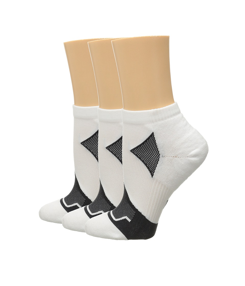HUE - Quarter Top 3-Pack (White Solids) Women's Quarter Length Socks Shoes