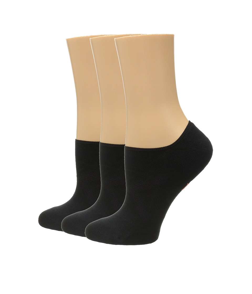 HUE - Ergonomic Liner 3-Pack (Black Solids) Women's Crew Cut Socks Shoes