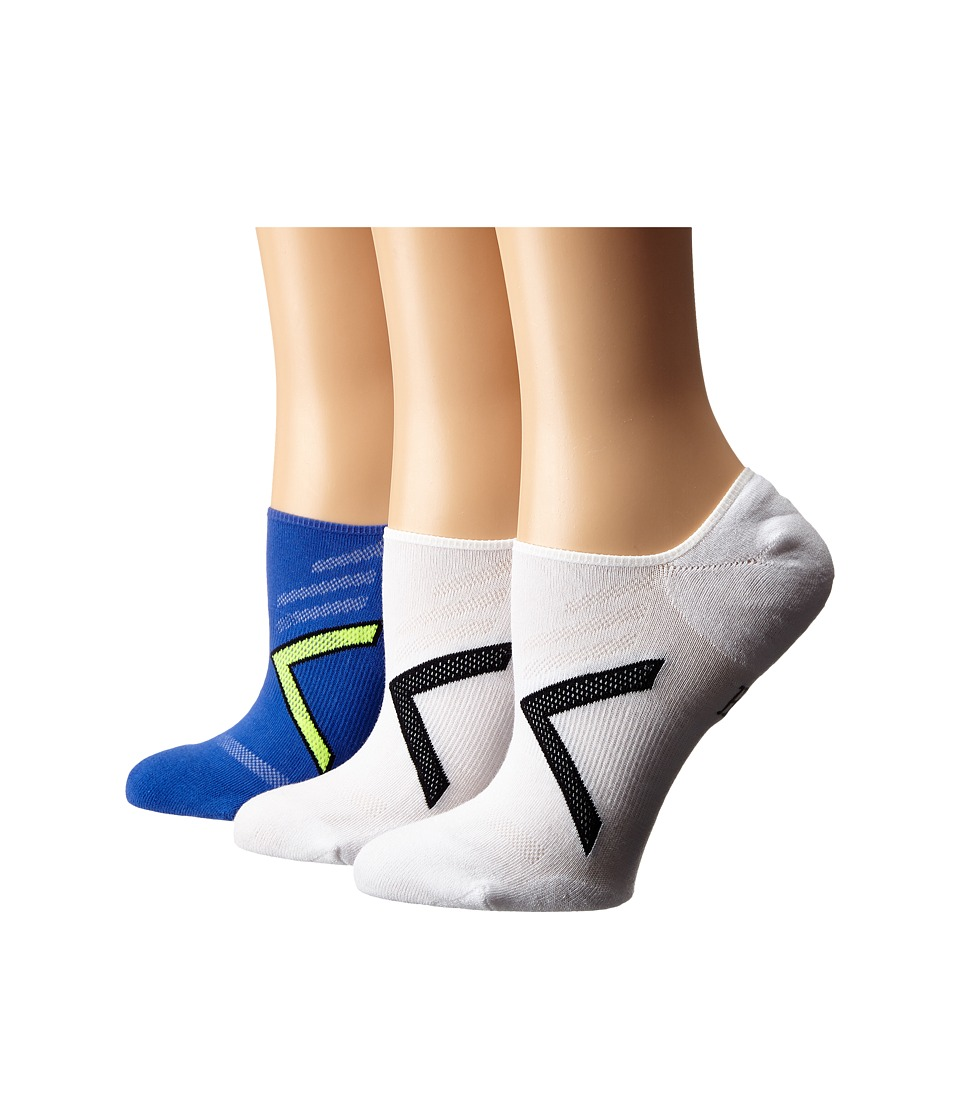 HUE - Ergonomic Liner 3-Pack (Mediterranean/White Solid/White Solid) Women's Crew Cut Socks Shoes