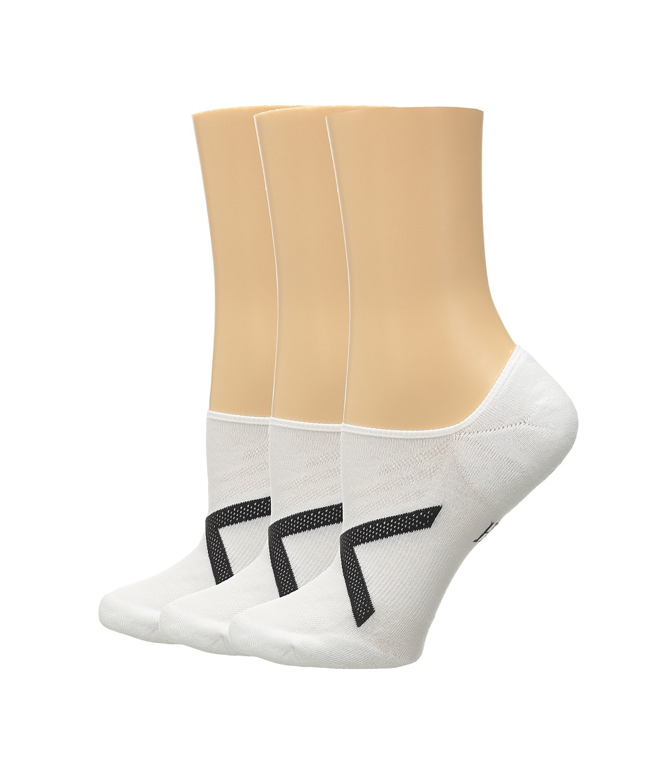 HUE - Ergonomic Liner 3-Pack (White Solids) Women's Crew Cut Socks Shoes