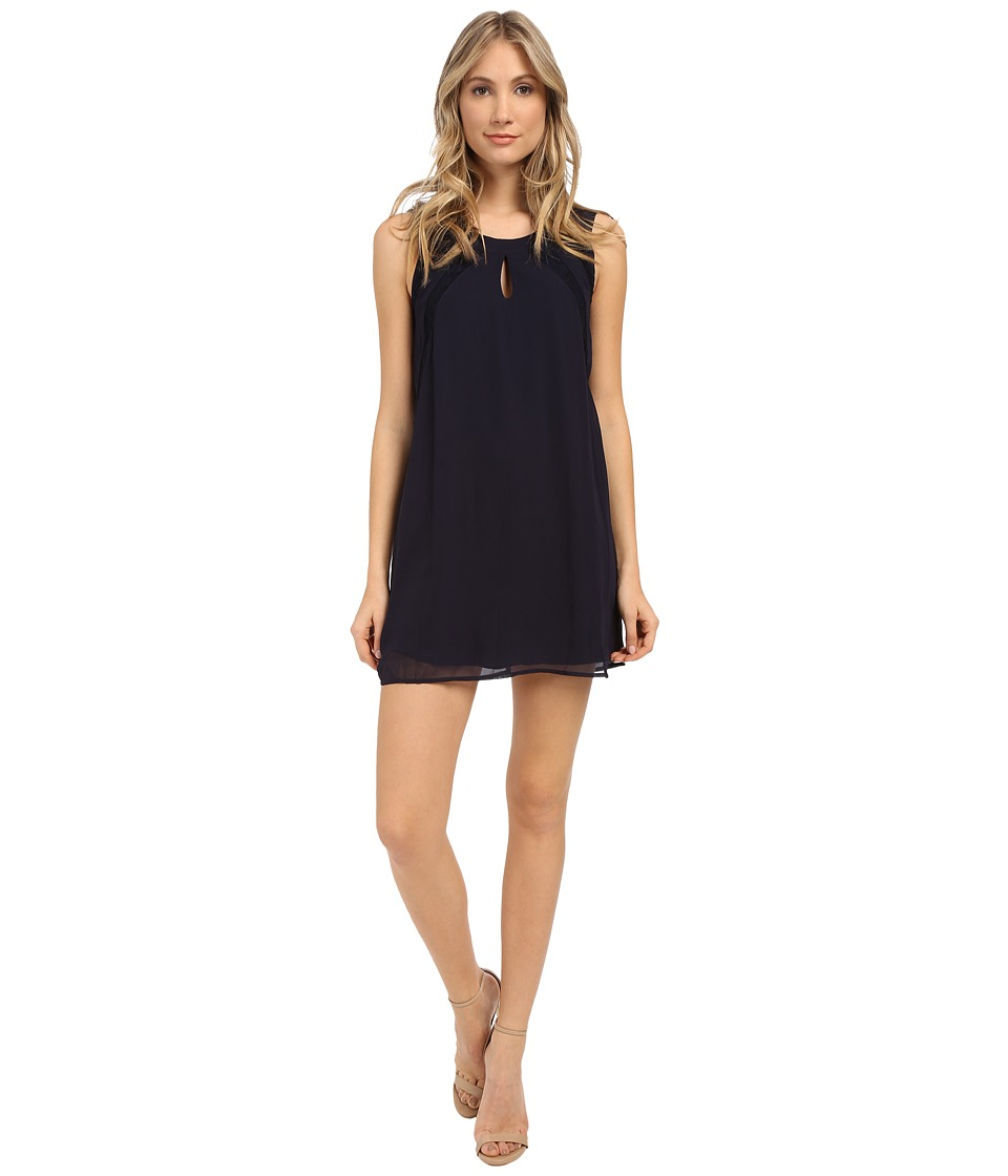 Brigitte Bailey - Lace Inset Shift Dress (Dark Blue) Women's Dress