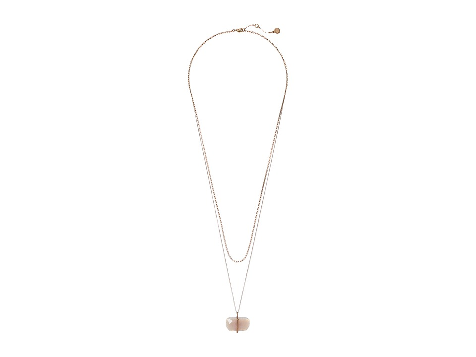 Vince Camuto - Hi Low Pendant Necklace (Burnt Rose Gold/Crackled White Opal) Necklace