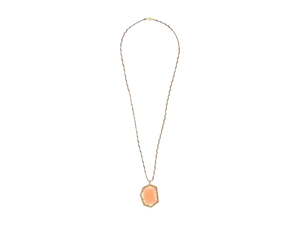 Vince Camuto - Pave Border Stone Pendant Necklace (Worn Gold/Milky Light Peach/Light Peach Pave/Grey) Necklace