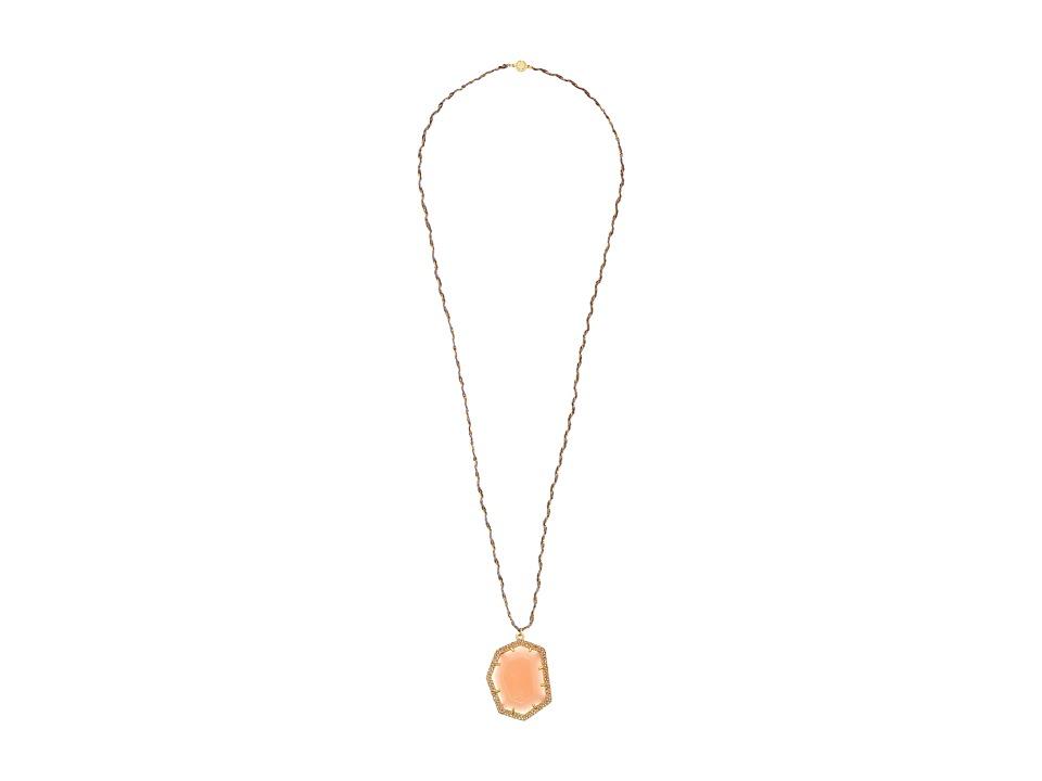 Vince Camuto - Pave Border Stone Pendant Necklace (Worn Gold/Milky Light Peach/Light Peach Pave/Grey) Necklace
