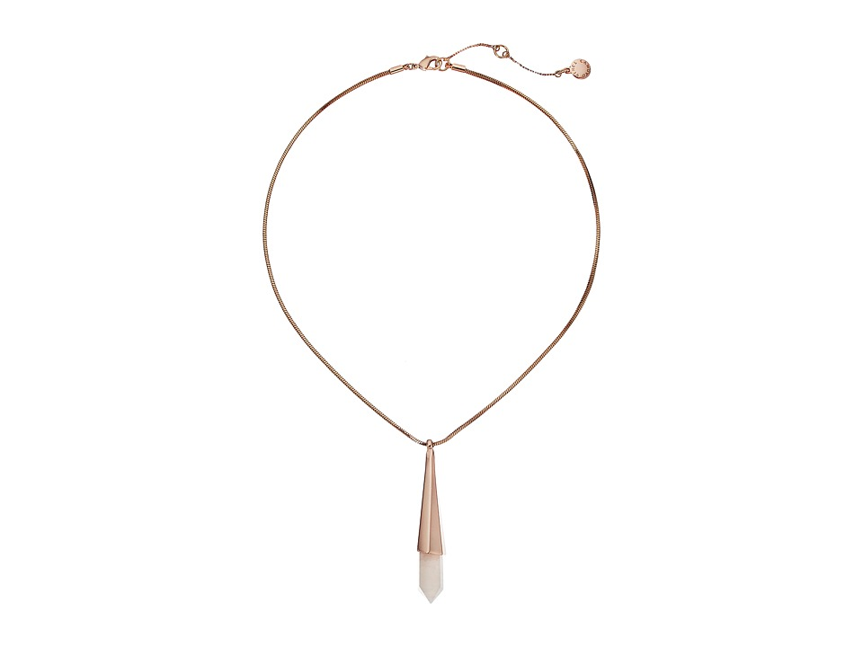 Vince Camuto - Short Shard Pendant Necklace (Burnt Rose Gold/Crackled White Opal) Necklace