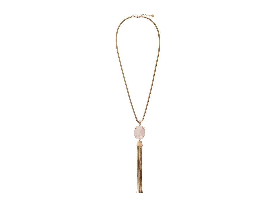 Vince Camuto - Rock Crystal Tassel Y Necklace (Burnt Rose Gold/Crackled White Opal) Necklace