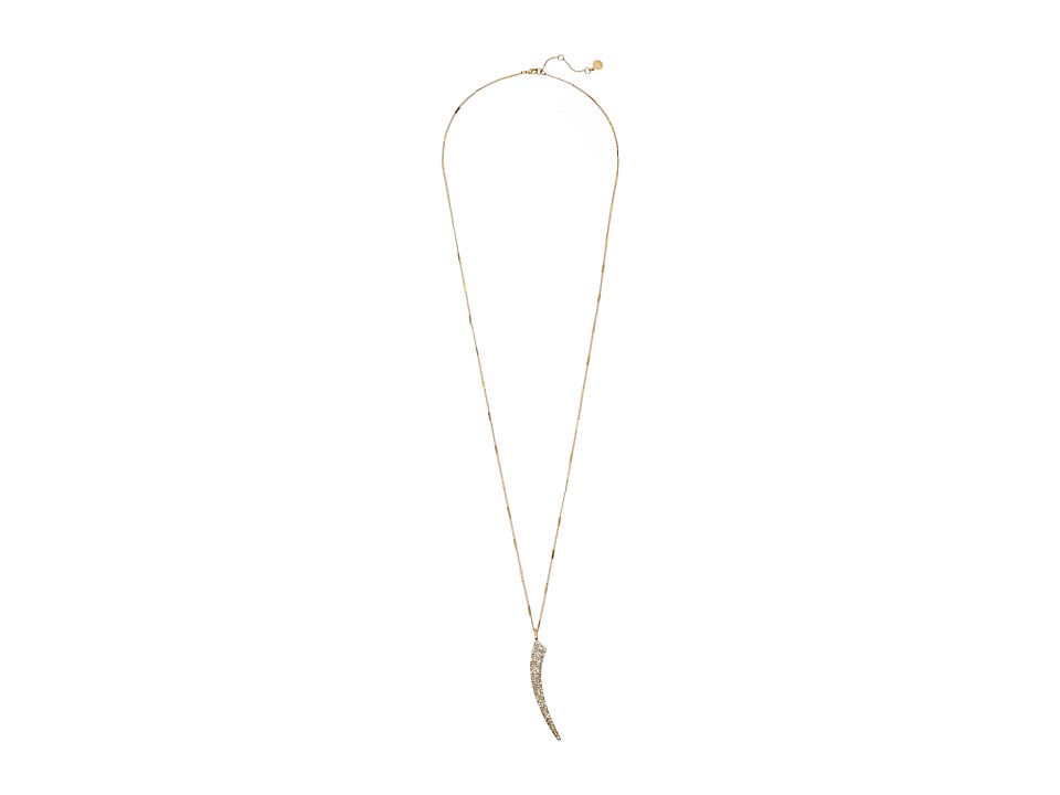 Vince Camuto - Pave Flat Horn Pendant Necklace (Worn Gold/Crystal) Necklace