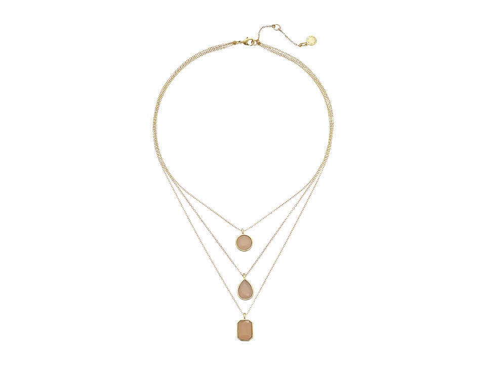 Vince Camuto - Triple Layer Pendant Necklace (Worn Gold/Milky Light Peach) Necklace