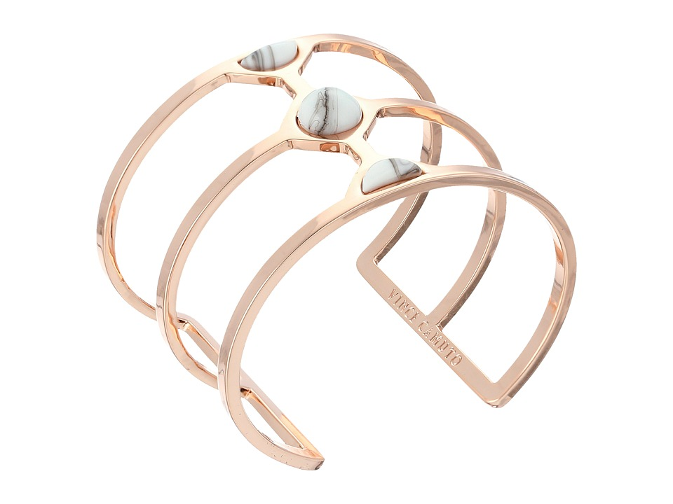 Vince Camuto - Milky Resin Cut Out Cuff Bracelet (Burnt Rose Gold/White Swirl) Bracelet