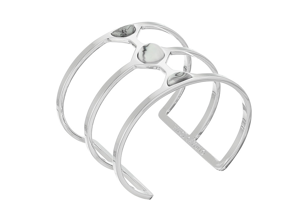 Vince Camuto - Milky Resin Cut Out Cuff Bracelet (Light Rhodium/White Swirl) Bracelet