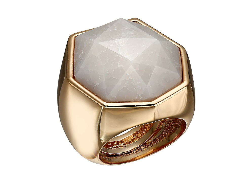 Vince Camuto - Angular Stone Ring (Burnt Rose Gold/Crackled White Opal) Ring