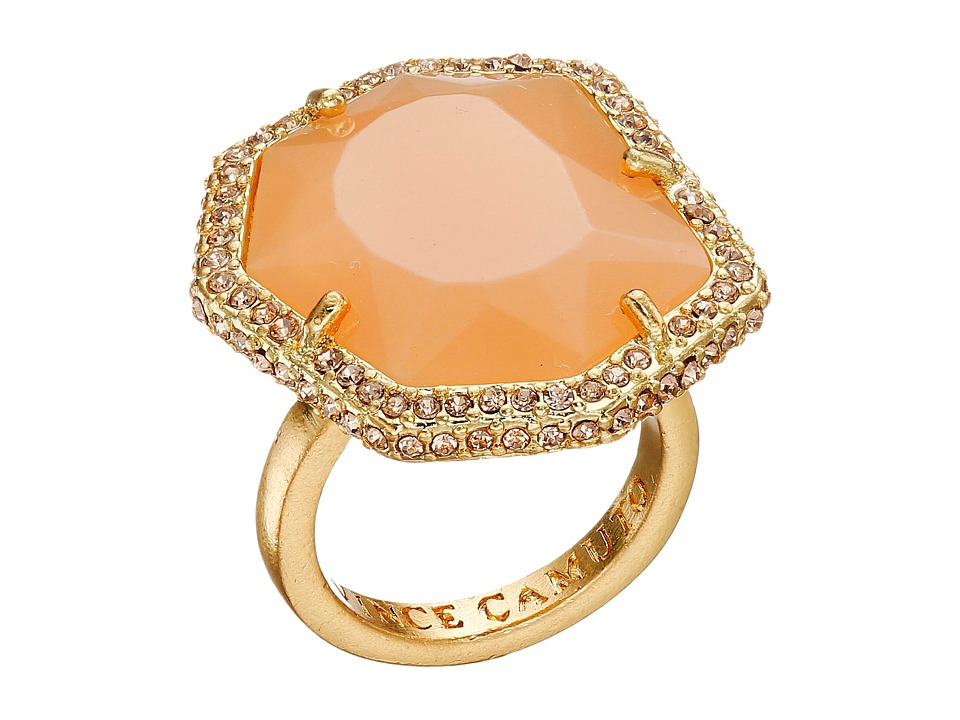 Vince Camuto - Pave Border Stone Ring (Worn Gold/Milky Light Peach/Light Peach Pave) Ring