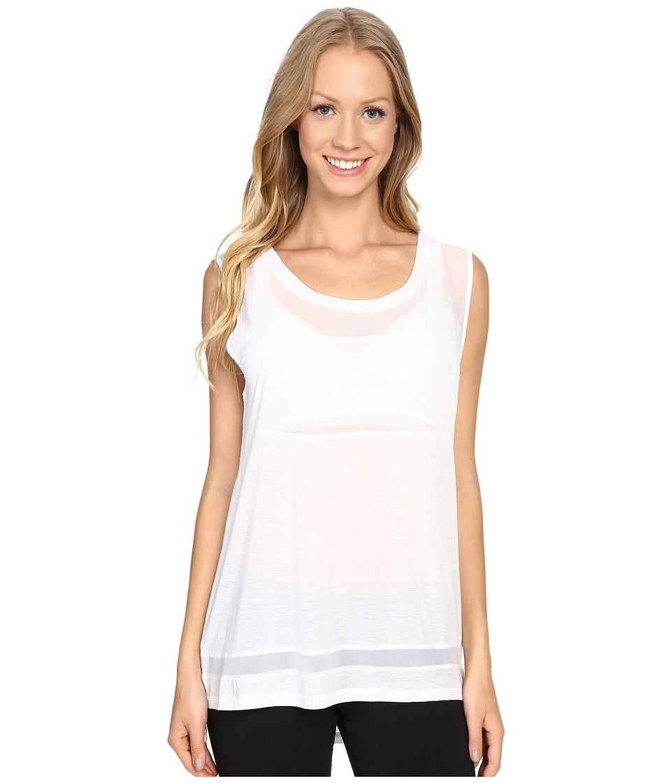 Zobha - Sleeveless Muscle Tee w/ Sheer Panels (Bright White) Women's T Shirt
