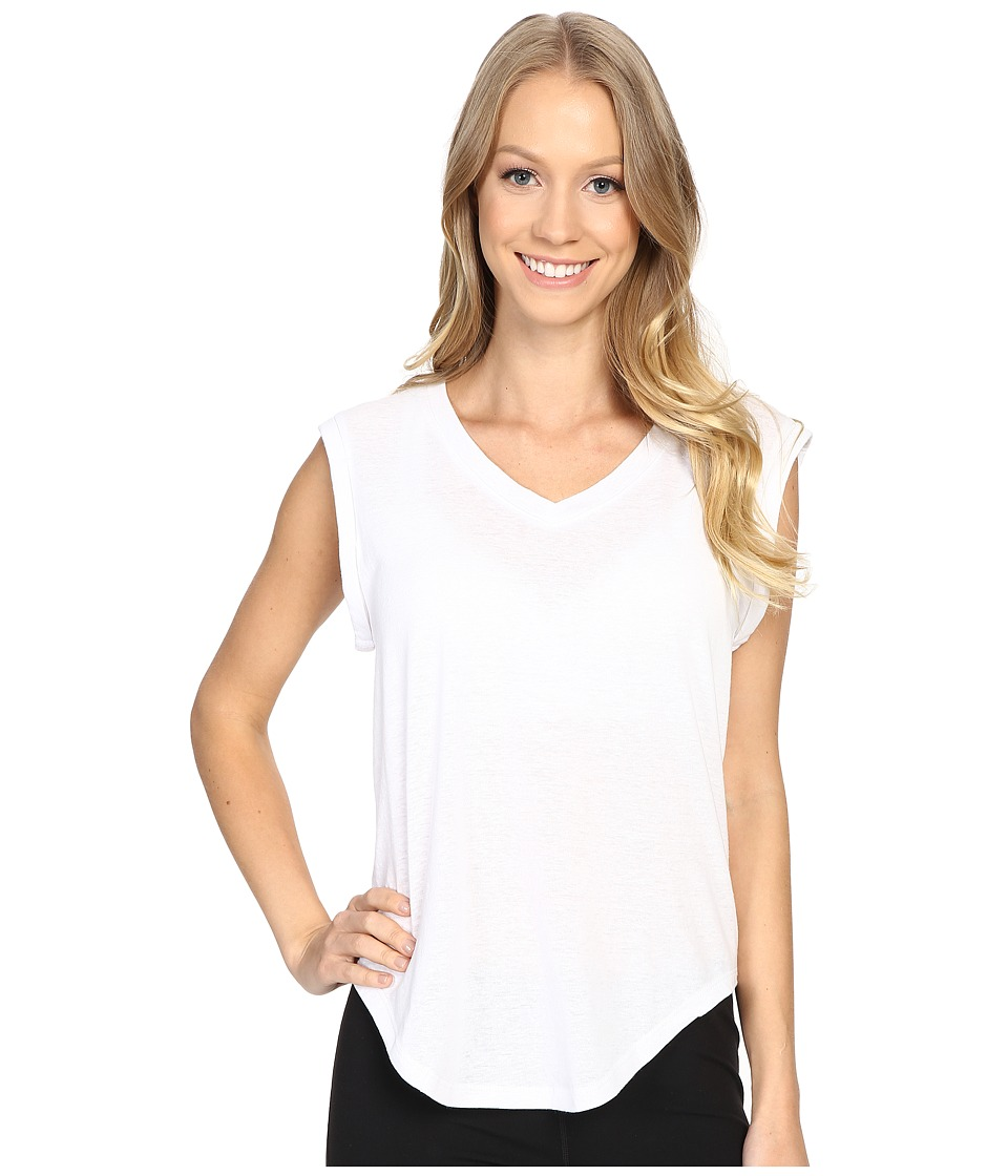 Zobha - V-Neck Muscle Tee w/ Open Back (Bright White) Women's T Shirt
