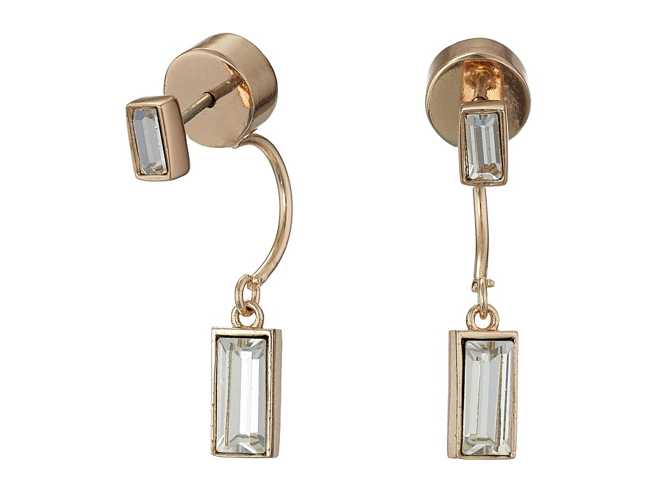 Vince Camuto - Pave Crystal Baguette Front Back Earrings (Rose Gold/Crystal) Earring