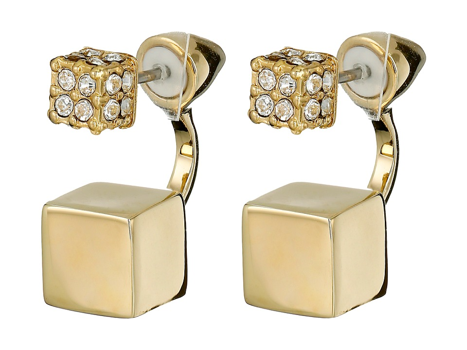 Vince Camuto - Pave Block Front Back Earrings (Gold/Crystal) Earring