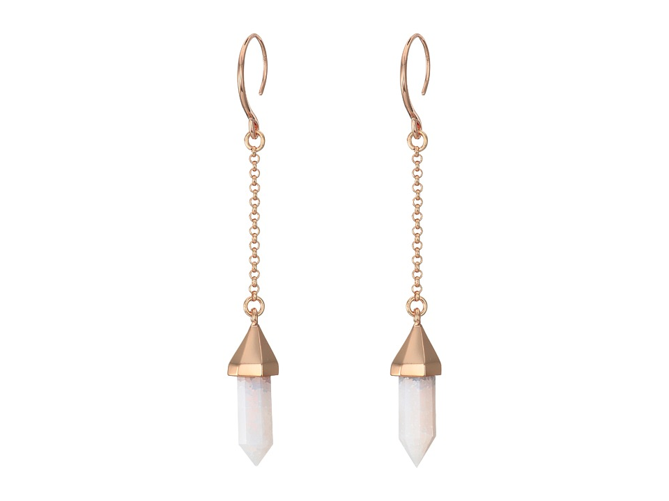 Vince Camuto - Chain Stone Drop Earrings (Burnt Rose Gold/Crackled White Opal) Earring