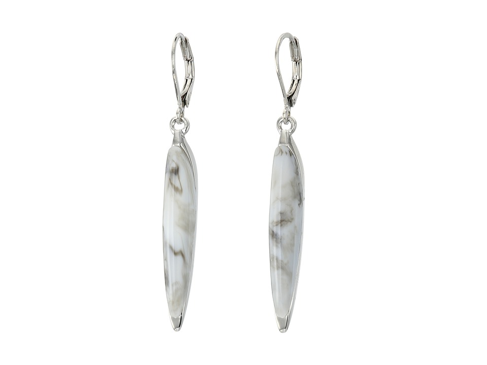 Vince Camuto - Resin Spike Earrings (Light Rhodium/White Swirl) Earring