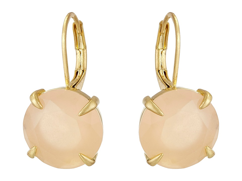 Vince Camuto - Round Leverback Earrings (Worn Gold/Milky Light Peach) Earring