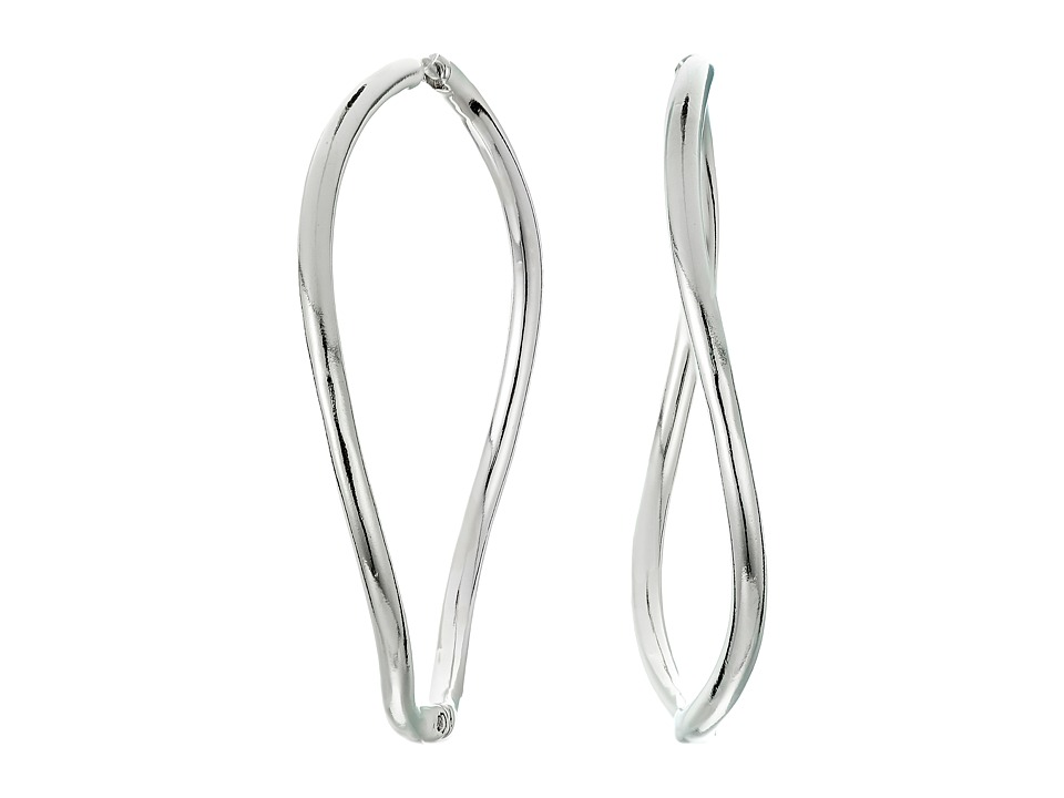 Vince Camuto - Twisted Large Huggy Earrings (Light Rhodium) Earring