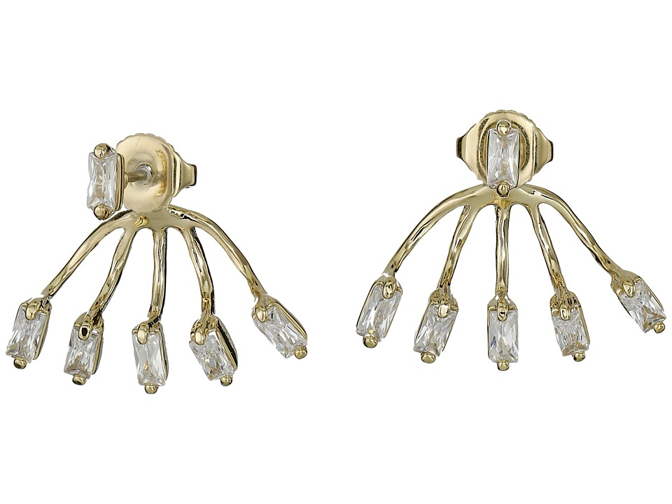 Vince Camuto - Crystal Baguettes Front Back Earrings (Gold/Crystal CZ) Earring
