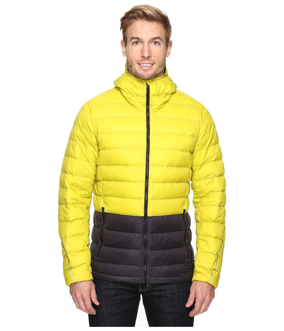 adidas Outdoor - Light Down Hooded Jacket (Unity Lime/Utility Black) Men's Coat
