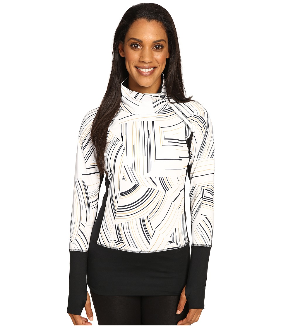 Brooks - Threshold Long Sleeve Top (White Cosmo/Black) Women's Long Sleeve Pullover